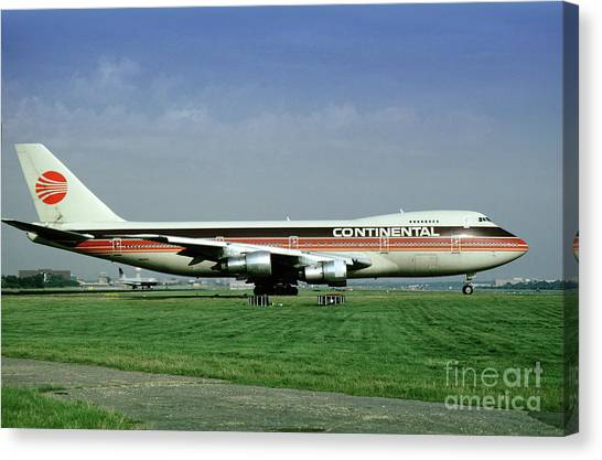 Continental Airlines Boeing 747-243b, N605pe, October 1988 Canvas Print