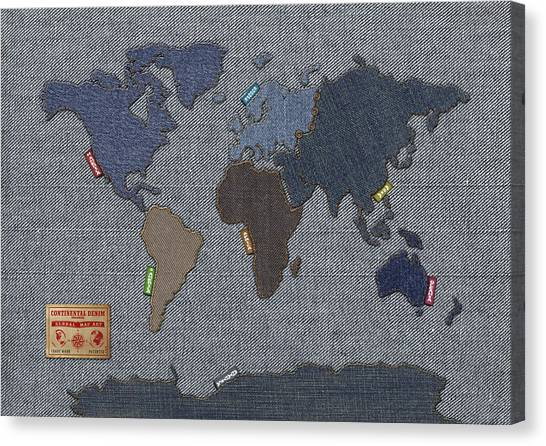 North America Canvas Print - Continental Denim World Map by Michael Tompsett