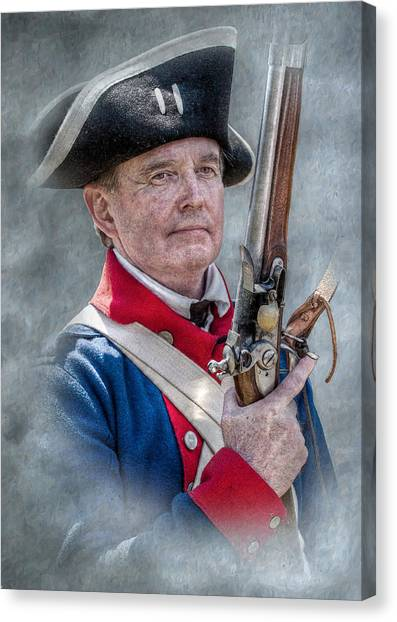 Continental Soldier Portrait Canvas Print by Randy Steele