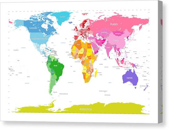 World Map Image For Print. Continents World Map Large Text For Kids Canvas Print by Michael Tompsett Digital Art