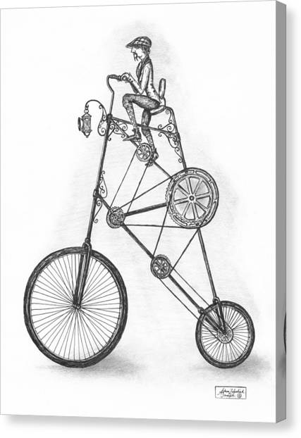 Pen And Ink Drawing Canvas Print - Contraption by Adam Zebediah Joseph