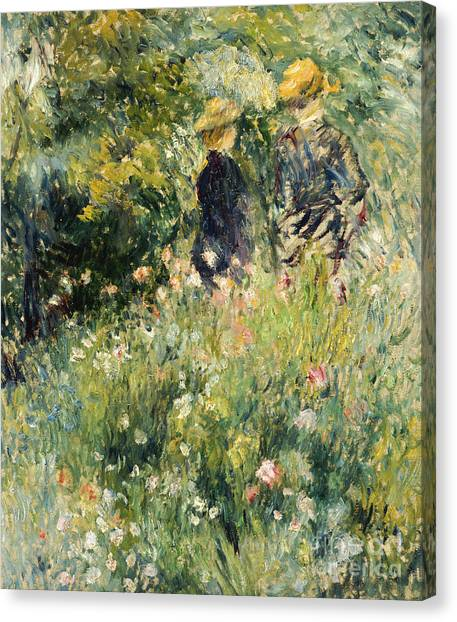 Pierre-auguste Renoir Canvas Print - Conversation In A Rose Garden by Pierre Auguste Renoir