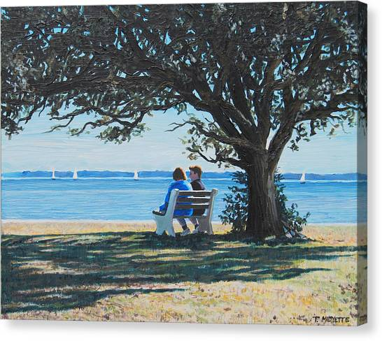 Conversation In The Park Canvas Print