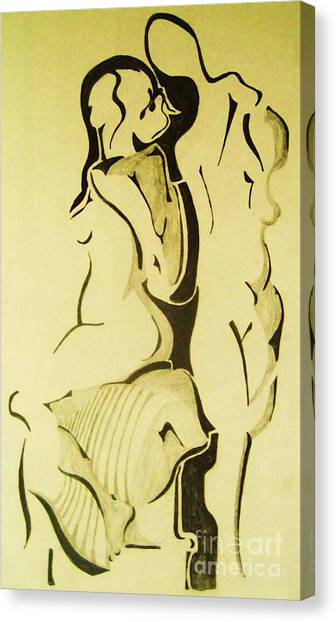 Conversation Of Two Nudes  Canvas Print by Reb Frost