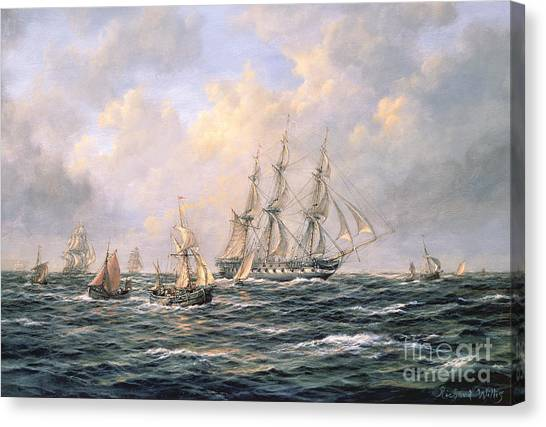 Fishing Boats Canvas Print - Convoy Of East Indiamen Amid Fishing Boats by Richard Willis