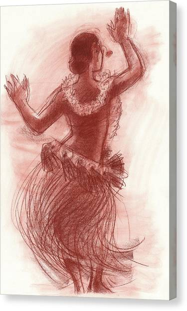 Cook Islands Drum Dancer From The Back Canvas Print