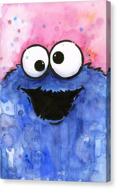 Monsters Canvas Print - Cookie Monster by Olga Shvartsur