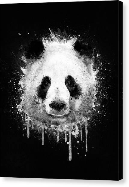 Panda Canvas Print - Cool Abstract Graffiti Watercolor Panda Portrait In Black And White  by Philipp Rietz