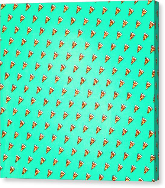 Pizza Canvas Print - Cool And Trendy Pizza Pattern In Super Acid Green   Turquoise   Blue by Philipp Rietz