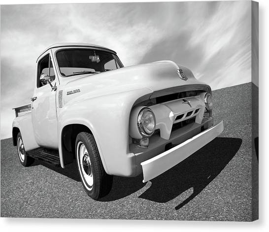 Truck Driver Canvas Print - Cool As Ice - 1954 Ford F-100 In Black And White by Gill Billington