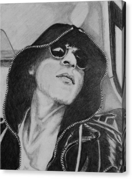 Hoodie Canvas Print - Cool Shah Rukh Khan In Hoodie And Shades by Linda Prediger