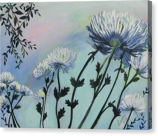 Cool White Spider Mums Canvas Print