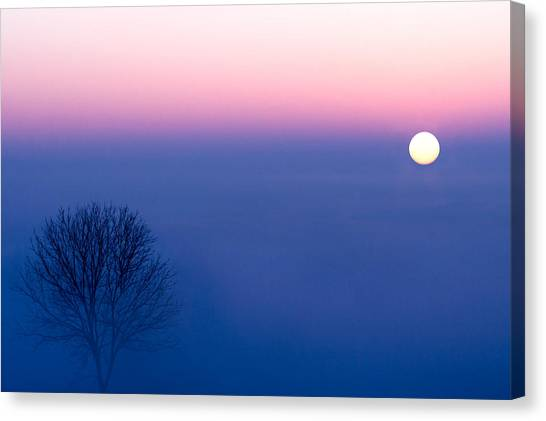 Sunrise Horizon Canvas Print - Cool Winter Sun by Todd Klassy