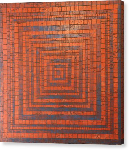 Copper And Cerulean Crack Canvas Print by Tracy Fetter