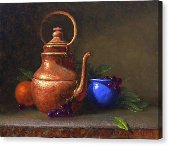 Tea Canvas Print - Copper And Cobalt by Cody DeLong