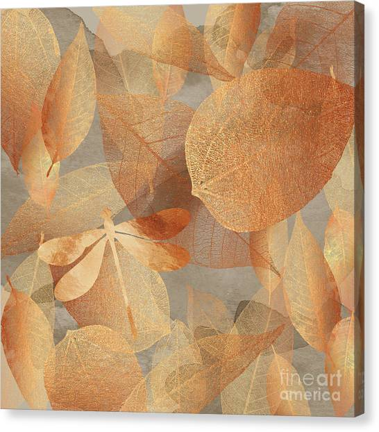 Metal Dragonfly Canvas Print - Copper Forest, Leaves And Dragonfly, Nature And Garden Art by Tina Lavoie