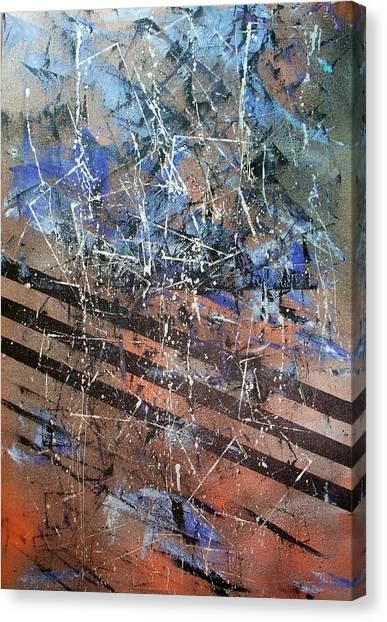 Copper To Blue Abstract Canvas Print by Lynda McDonald