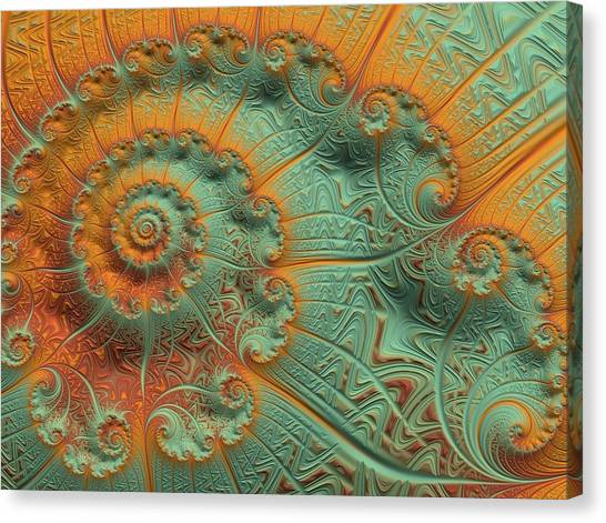 Fibonacci Canvas Print - Copper Verdigris by Susan Maxwell Schmidt