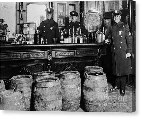 Liquor Canvas Print - Cops At The Bar by Jon Neidert
