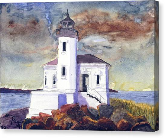 Canvas Print featuring the painting Coquille Lighthouse Watercolor by Chriss Pagani