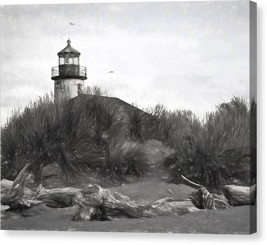 Coquille River Lighthouse Oregon Black And White Giclee Art Print Canvas Print