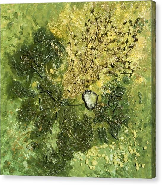 Lyrical Abstraction Canvas Print - Cor Viride - Green Heart by Sora Neva