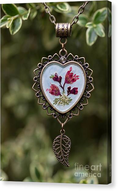Coral Bell Pressed Flower Pendant Canvas Print