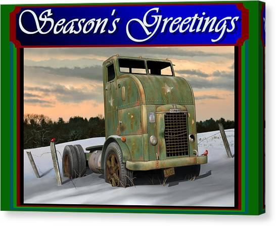 Rusty Truck Canvas Print - Corbitt Christmas Card by Stuart Swartz