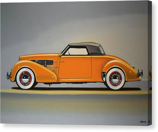 Automobiles Canvas Print - Cord 810 1937 Painting by Paul Meijering