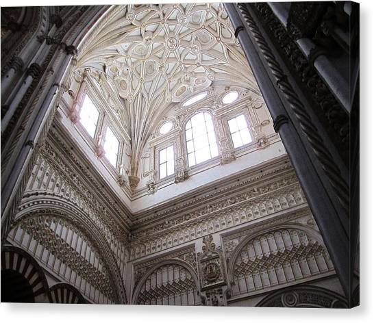 Cordoba Cathedral Ancient Ornate Ceiling Iv Spain Canvas Print