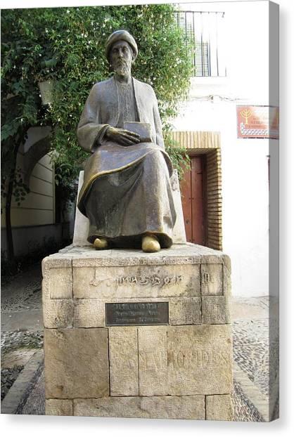 Cordoba Maimonides Statue Or Moses Ben Maimon Aka Rambam Jewish Quarter Viii Spain Canvas Print