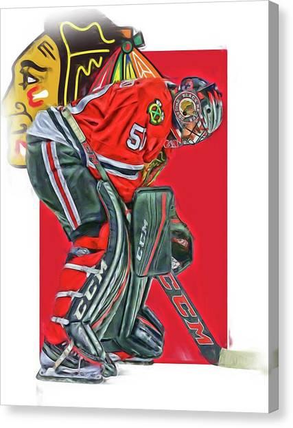 Blackhawk Canvas Print - Corey Crawford Chicago Blackhawks Oil Art by Joe Hamilton