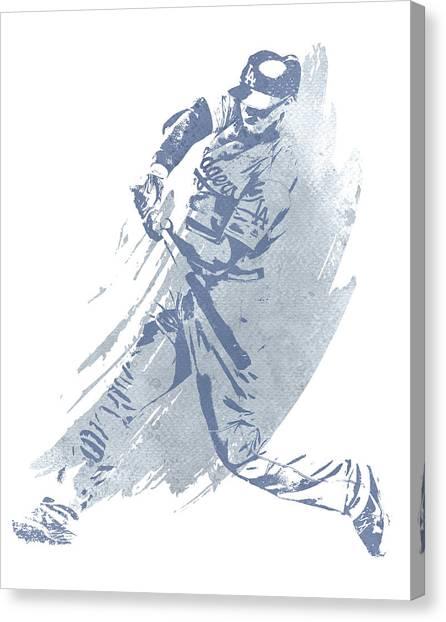 Los Angeles Dodgers Canvas Print - Corey Seager Los Angeles Dodgers Water Color Art 1 by Joe Hamilton