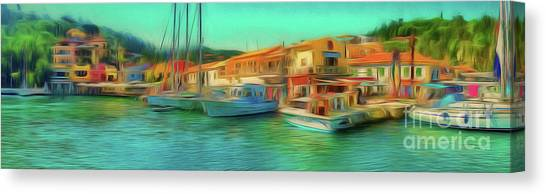 Canvas Print featuring the photograph Corfu 14 - Panorama Of Lakka On Paxos by Leigh Kemp