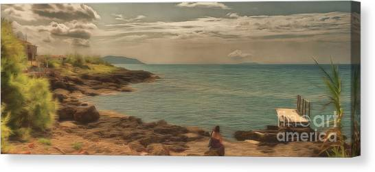 Canvas Print featuring the photograph Corfu 15  - My Lady On The Rocks by Leigh Kemp