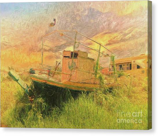 Canvas Print featuring the photograph Corfu 25 High And Dry by Leigh Kemp