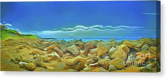 Canvas Print featuring the photograph Corfu 3 - Surreal Rocks by Leigh Kemp