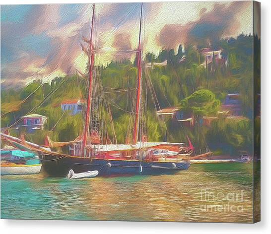 Canvas Print featuring the photograph Corfu 35 Tall Ship In Paxos by Leigh Kemp