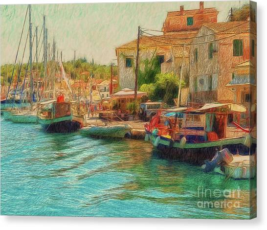 Canvas Print featuring the photograph Corfu 39 - Boats Paxos by Leigh Kemp