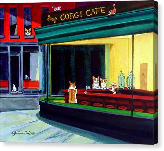 Cafes Canvas Print - Corgi Cafe After Hopper by Lyn Cook