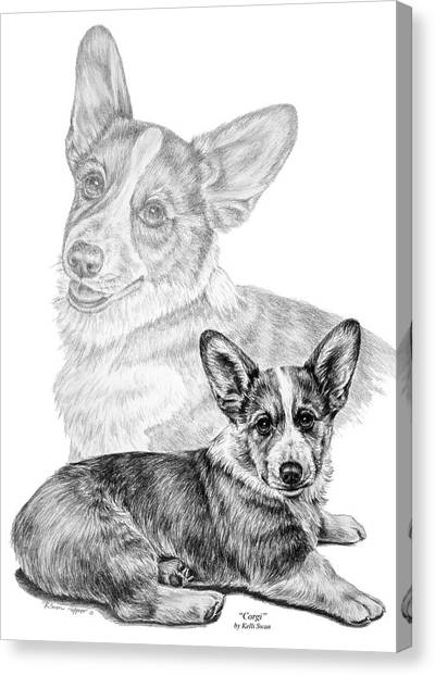 Corgi Dog Art Print Canvas Print
