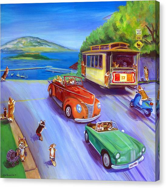 Trolley Canvas Print - Corgi Trolley On Hyde Street by Lyn Cook