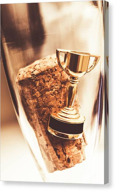 Champagne Canvas Print - Cork And Trophy Floating In Champagne Flute by Jorgo Photography - Wall Art Gallery