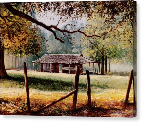 Corn Crib Canvas Print - Corn Crib by Randy Welborn