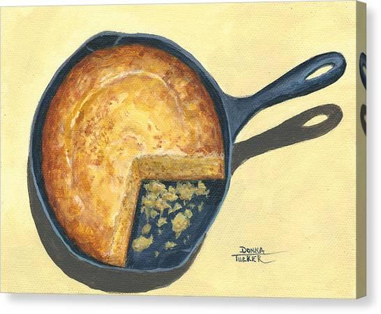 Cornbread Canvas Print - Cornbread In A Skillet by Donna Tucker