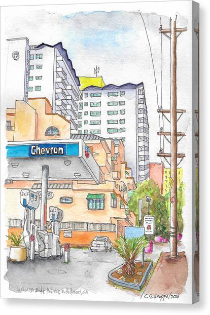 Corner La Cienega Blvd. And Hallway, Chevron Gas Station, West Hollywood, Ca Canvas Print