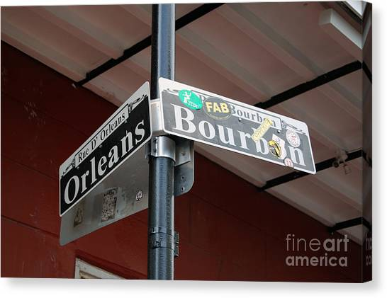 Corner Of Bourbon Street And Orleans Sign French Quarter New Orleans Canvas Print
