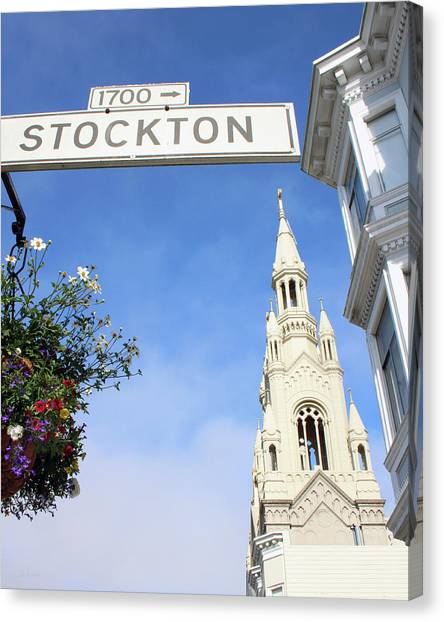 Street Signs Canvas Print - Corner Of Stockton-  By Linda Woods by Linda Woods