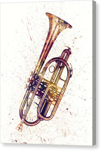 Musical Instrument Canvas Print - Cornet Abstract Watercolor by Michael Tompsett