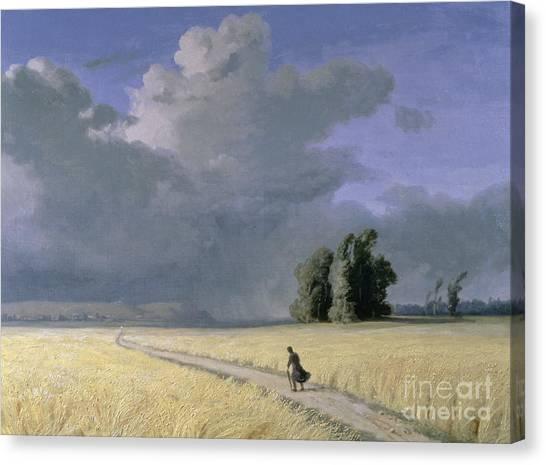 Corn Field Canvas Print - Cornfield Near Calais  by Josephine Bowes